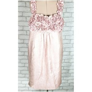 R & M Richards Pink Sleeveless Ruffle Dress 12